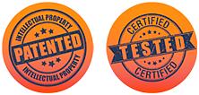sellos de certificación de patente y testeo
